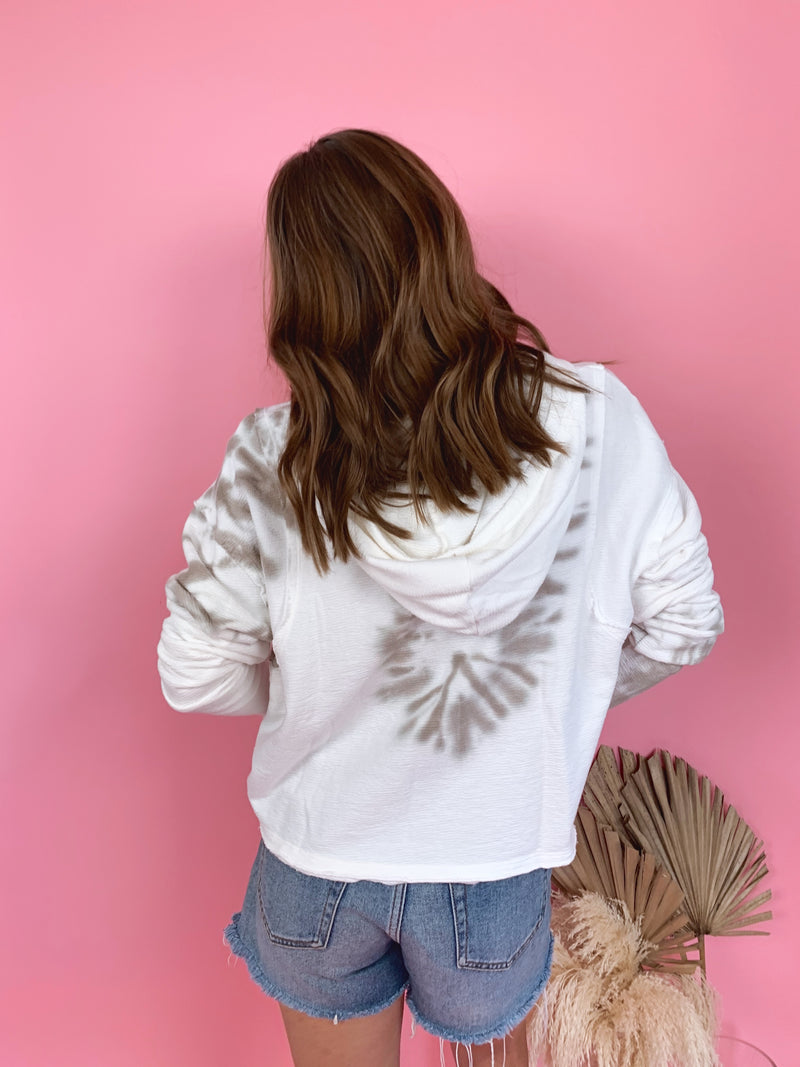 womens tan and white tie dye hoodie