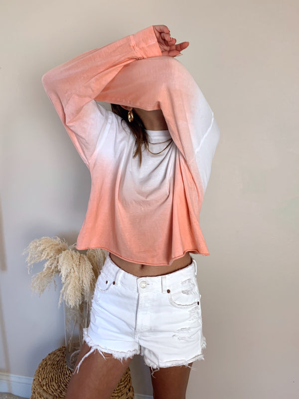 Womens Pink Ombre Long Sleeve Top