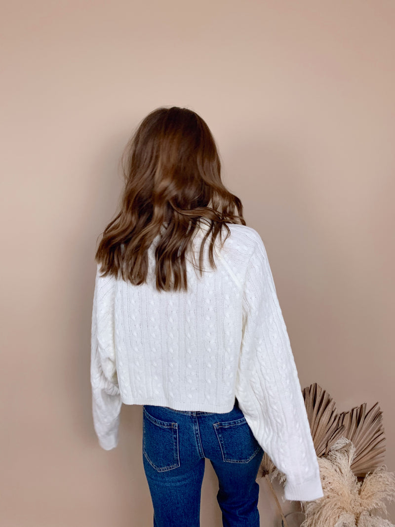 womens trendy ivory cable knit crop sweater