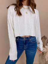 womens ivory cable knit cropped sweater