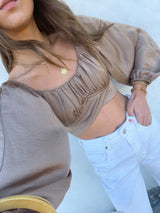 womens tan trendy boho crop top