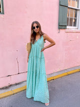 womens gold and green boho maxi dress