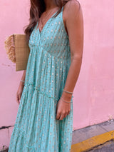 womens boho tiered maxi dress