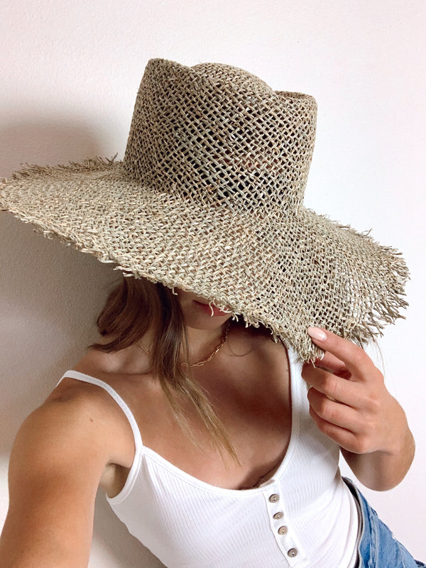 womens fray straw hat