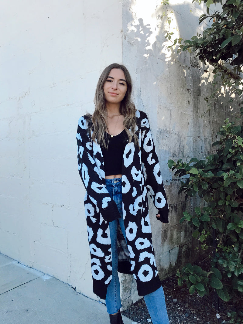 Black and white leopard print sweater cardigan, cozy cotton animal print cardigan