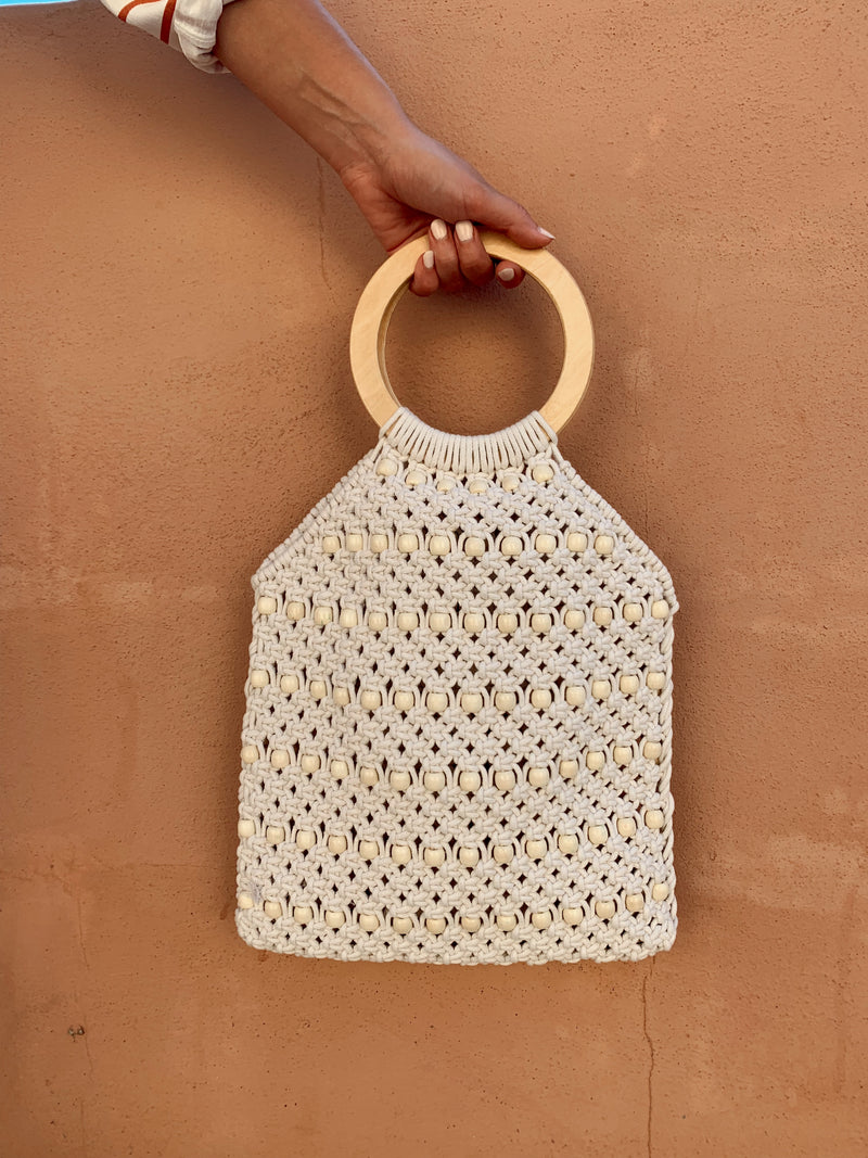 Macrame beaded handbag, Woven bag with top wood circle handles