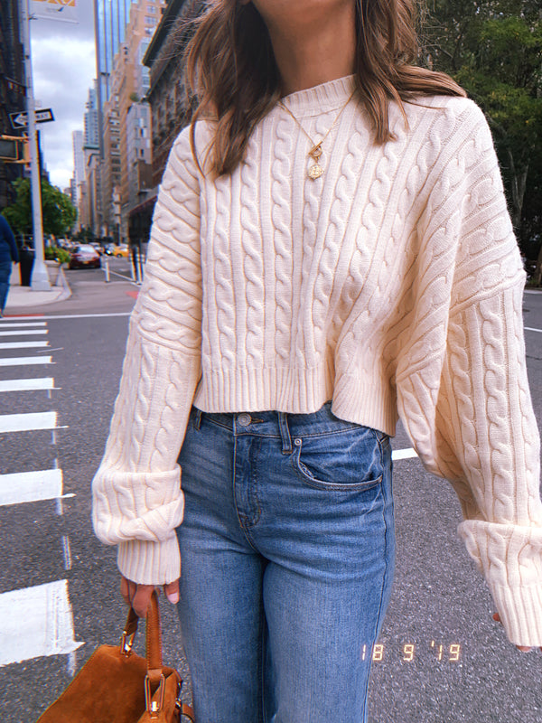 Womens oversized ivory cable knit crop top sweater