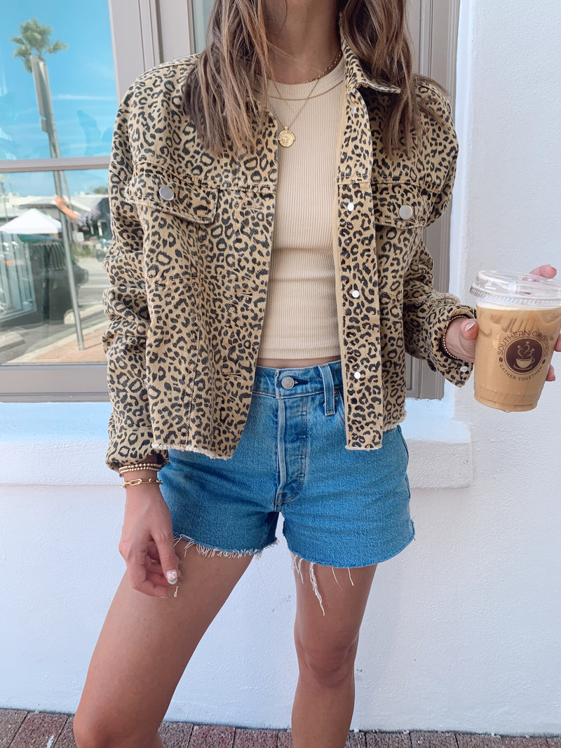 womens trendy leopard denim jacket