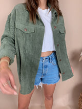 womens trendy olive corduroy jacket shirt