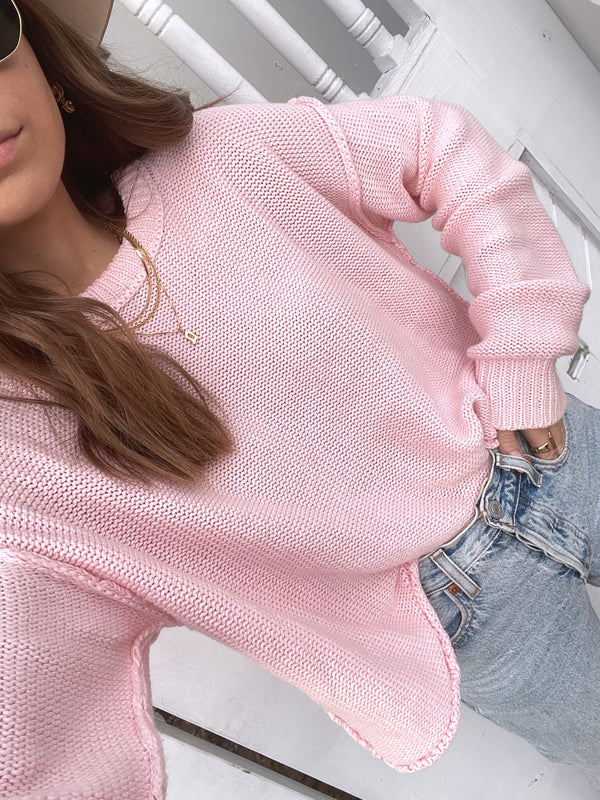 womens light pink crochet style sweater