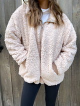 womens cream teddy zip up jacket
