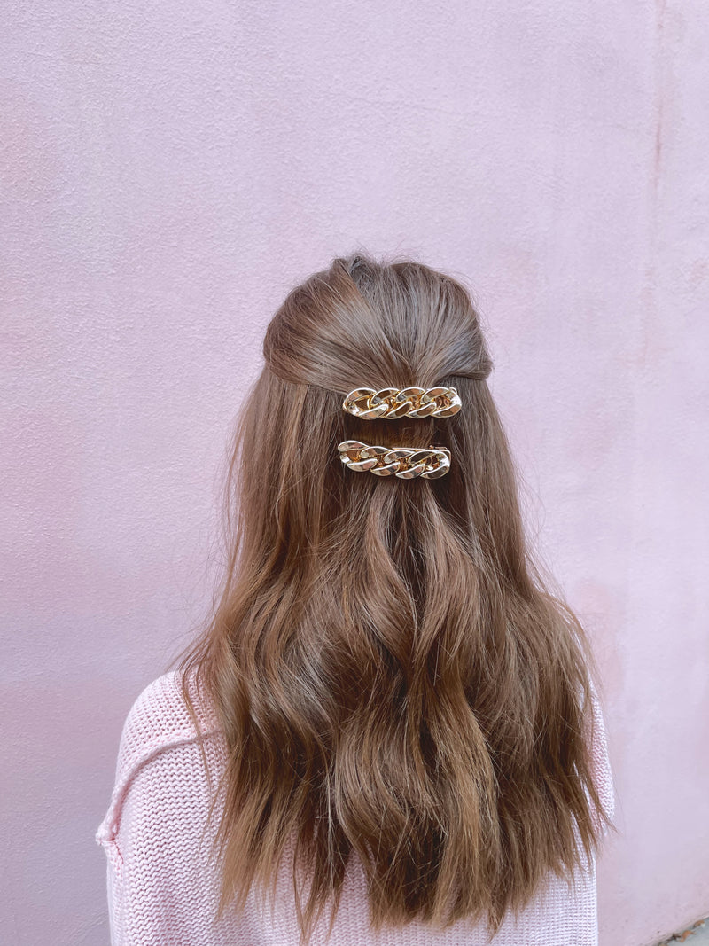 womens gold chain hair clip