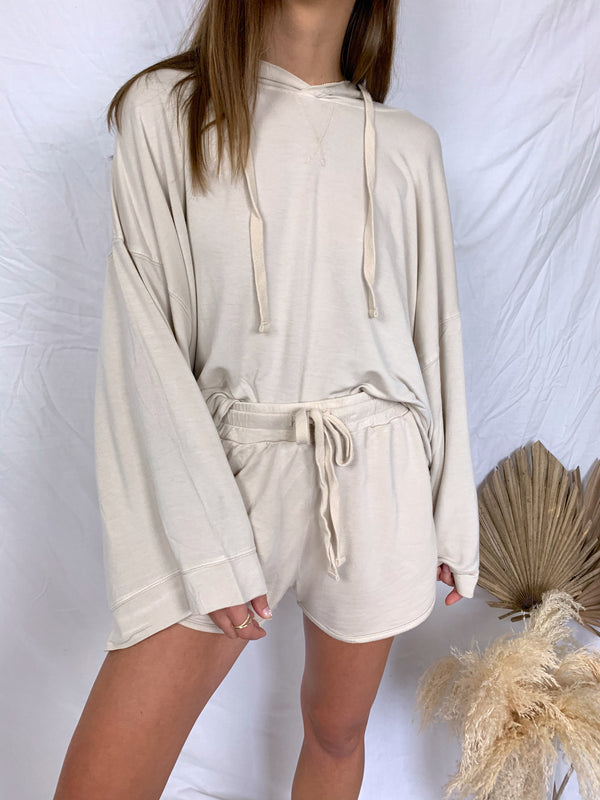 Womens cream hoodie and sweat shorts set