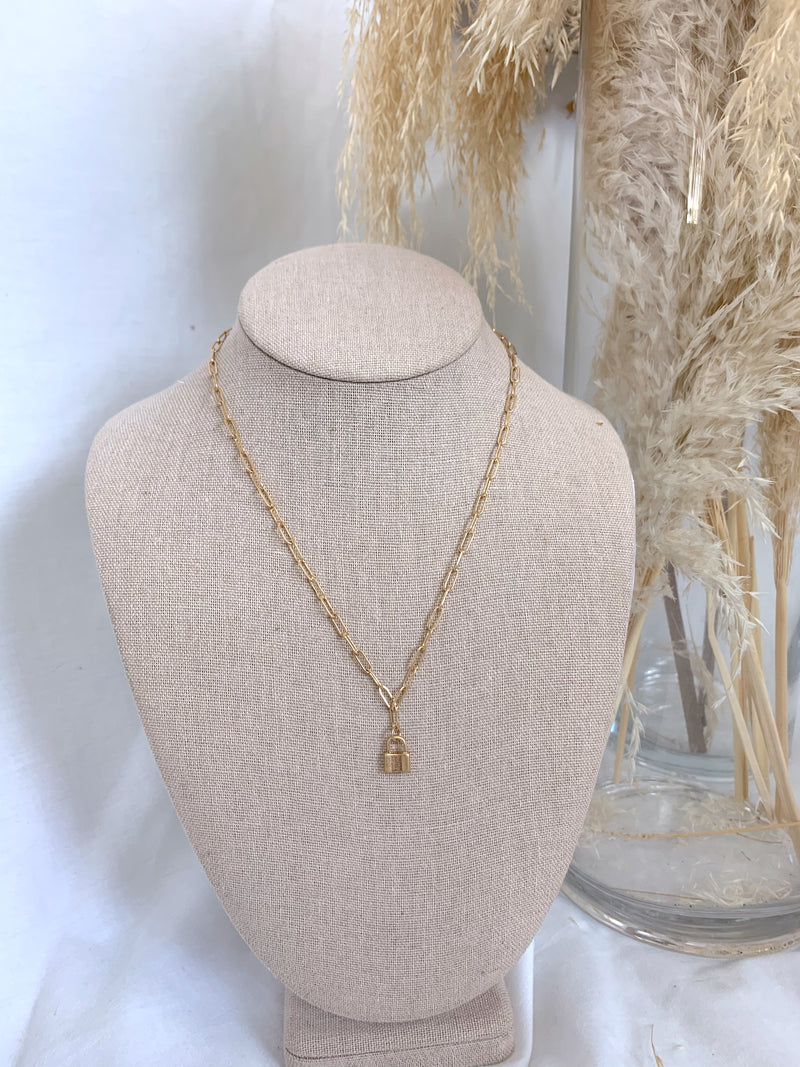 Gold Chain Link Lock Necklace