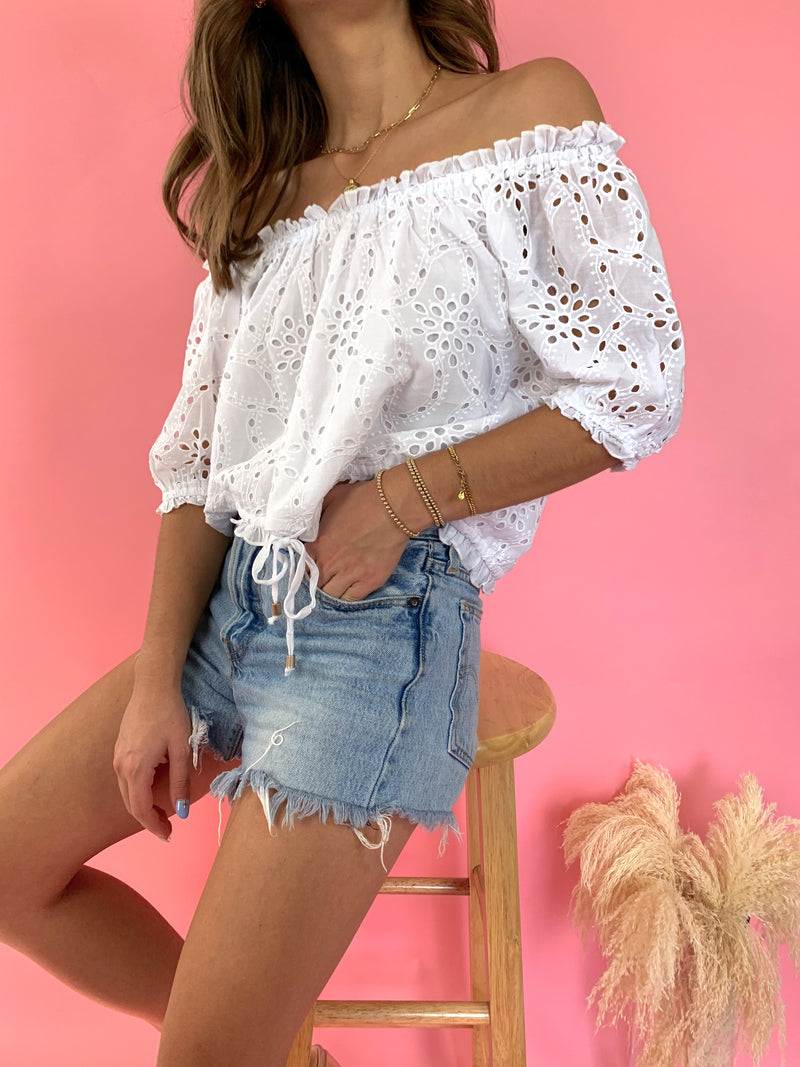 womens boho off the shoulder white eyelet top
