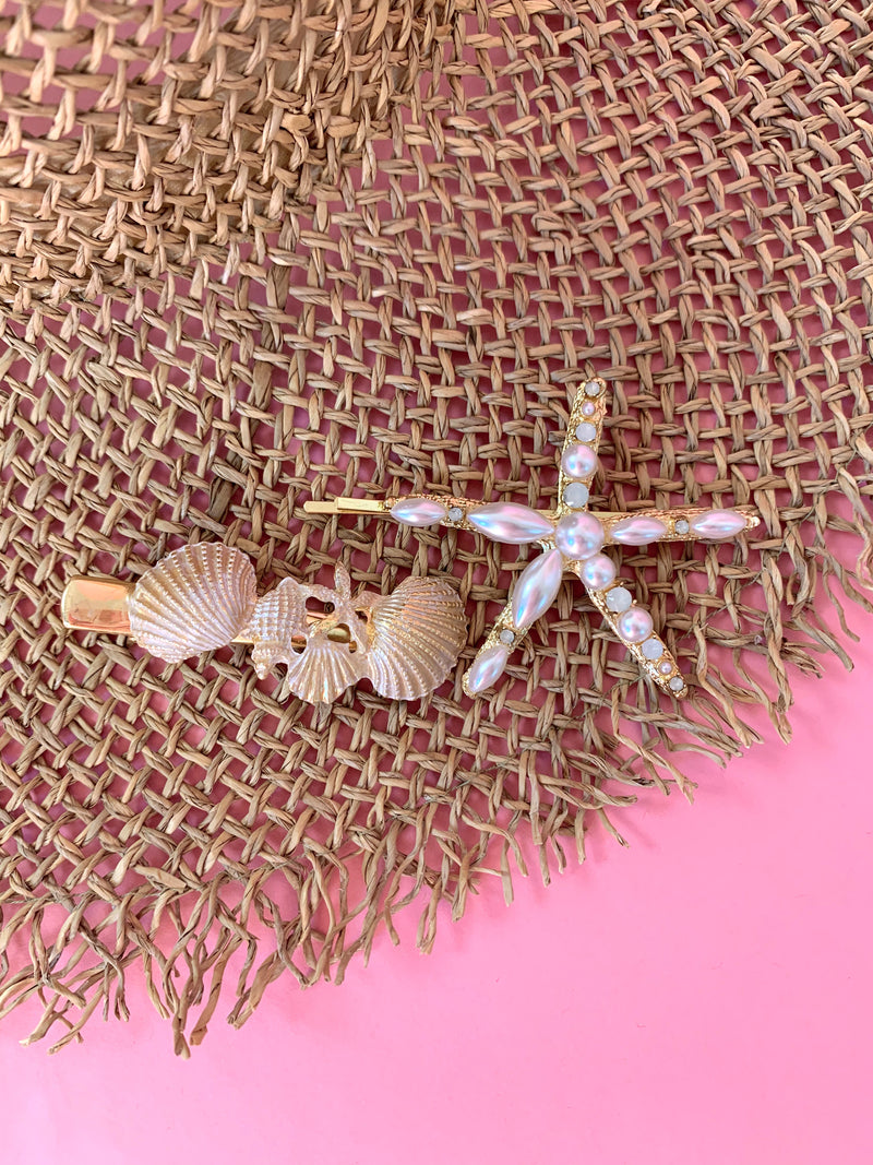 boho shell and starfish hair clip