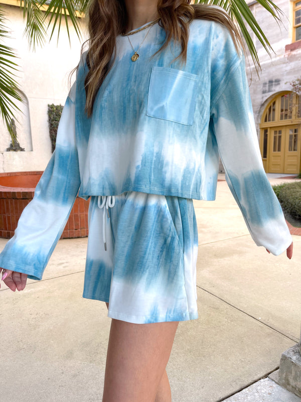womens blue loungewear tie dye