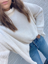 womens white chenille boxy sweater