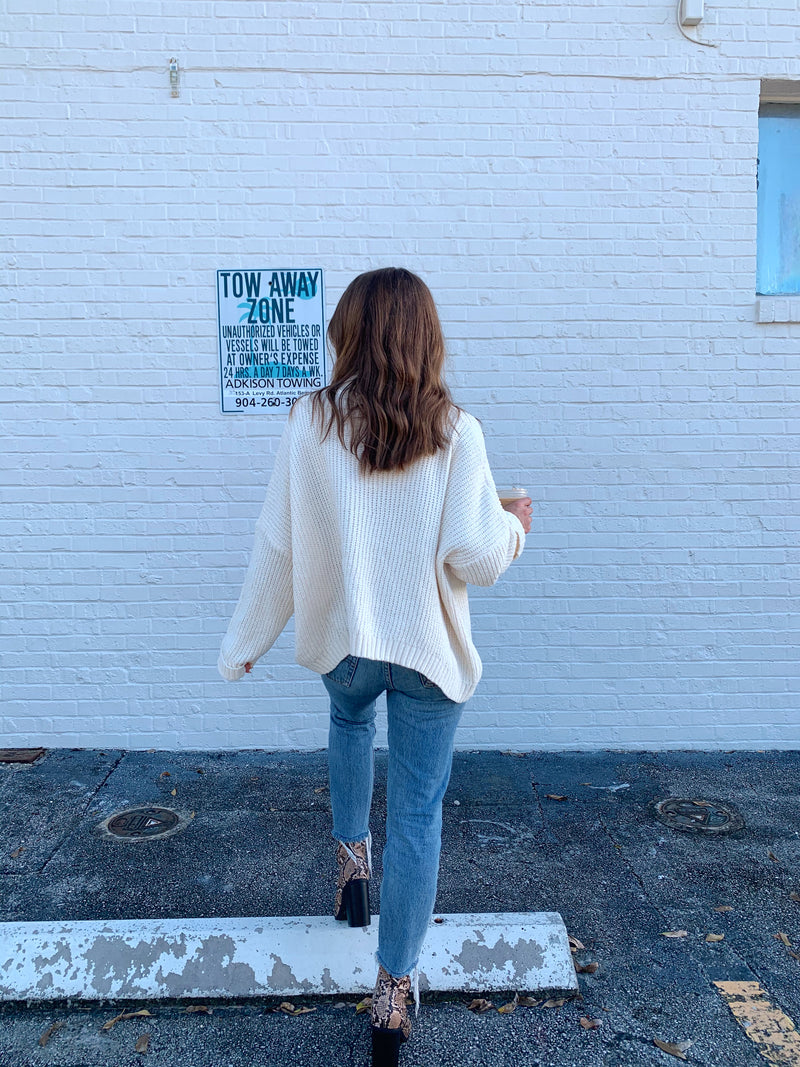 womens ivory chenille sweater oversized