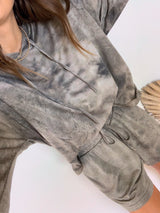 womens brown tie dye lounge set