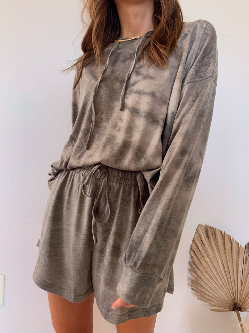 womens brown tie dye loungewear set