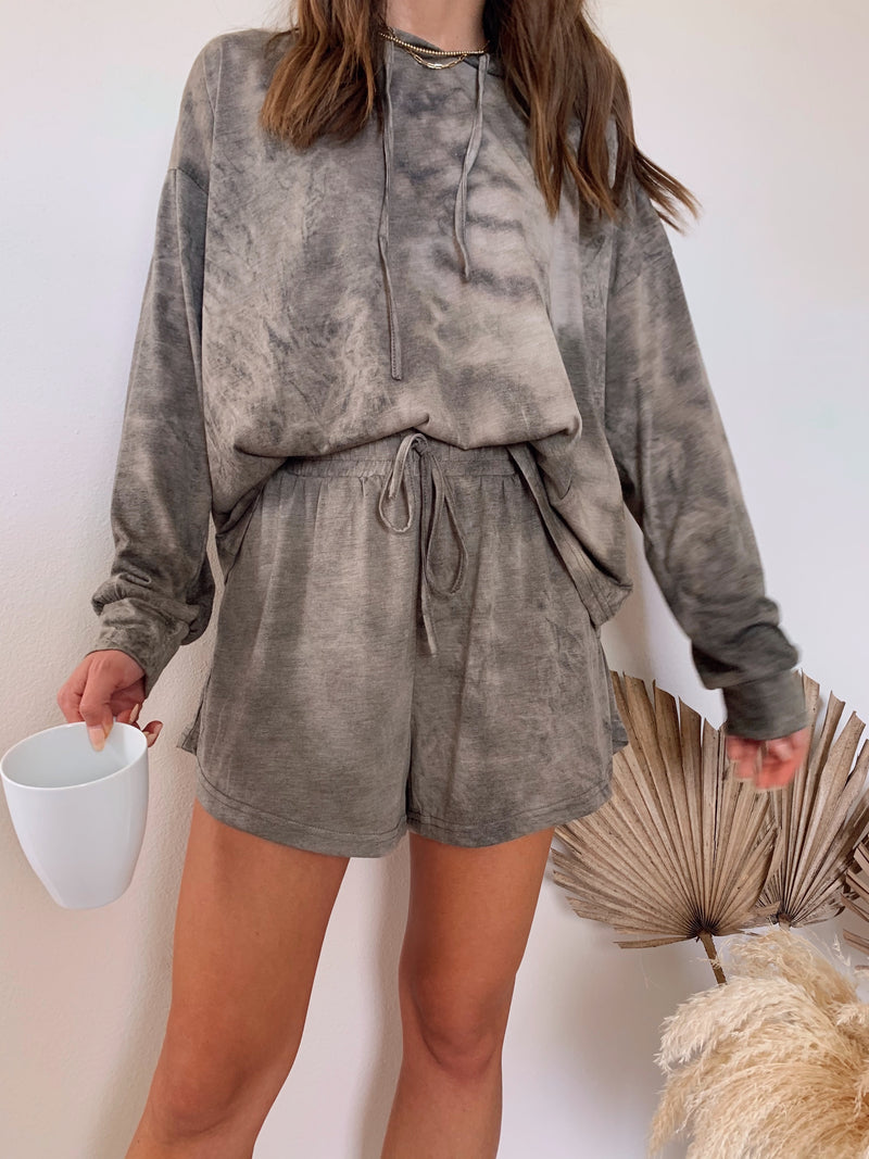 womens tie dye mocha brown lounge set