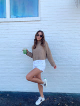 Crisp Air Camel Cropped Sweater