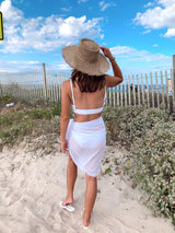 womens white swim cover up skirt