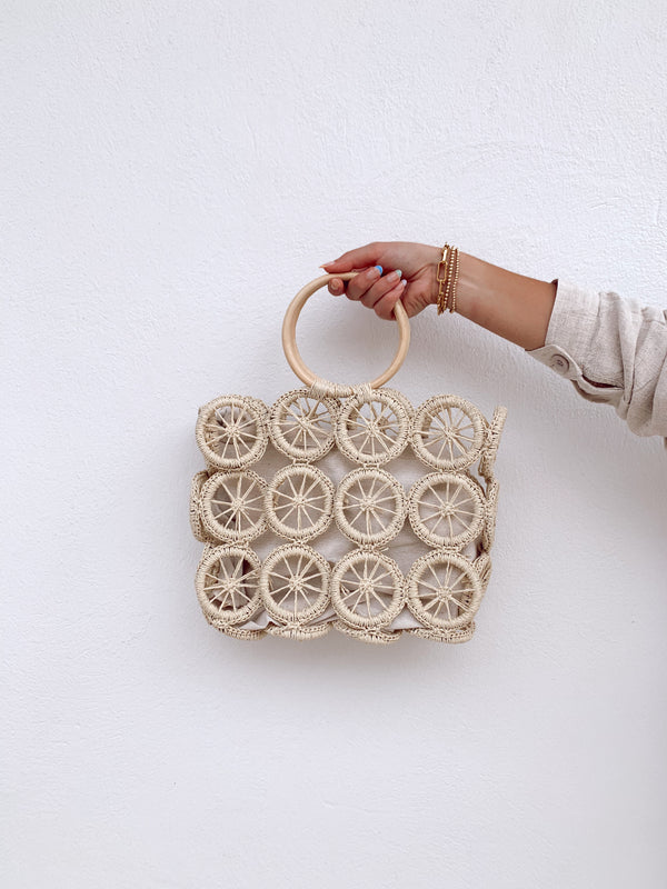 boho circle woven summer bag