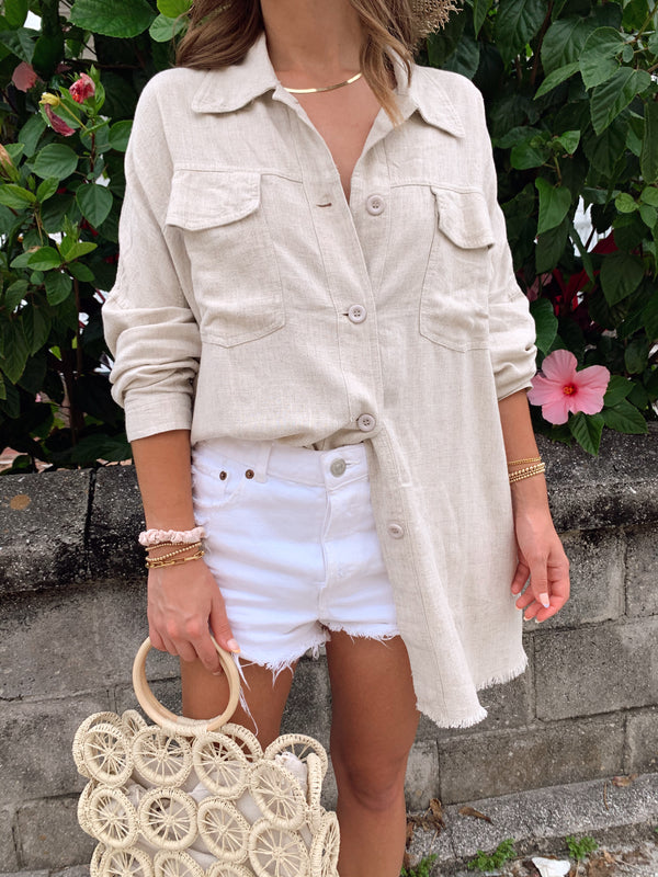 womens boho oversized linen button up top
