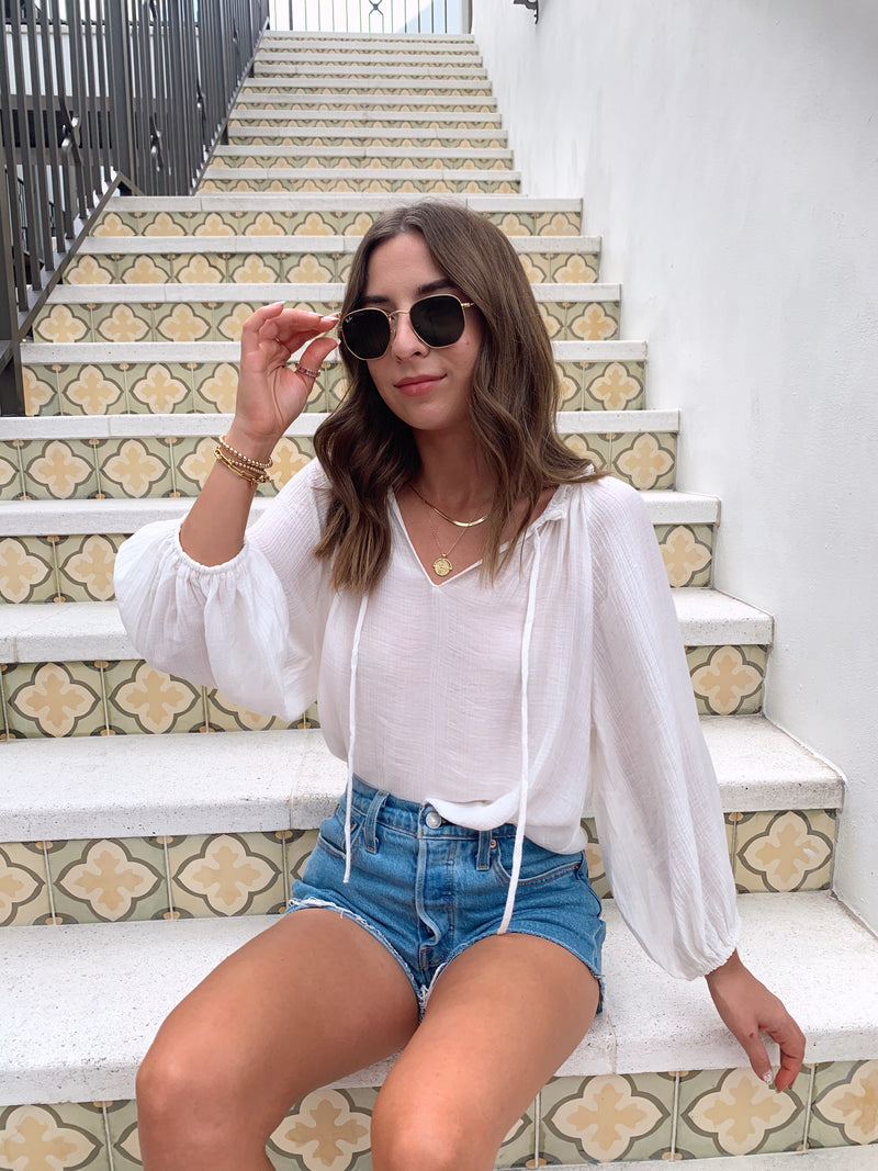 white flowy boho top