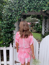 womens boho pink tie dye dress