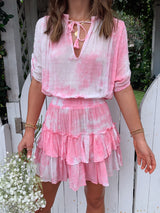 womens boho white and pink tie dye dress