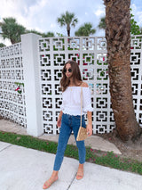 trendy white off the shoulder top