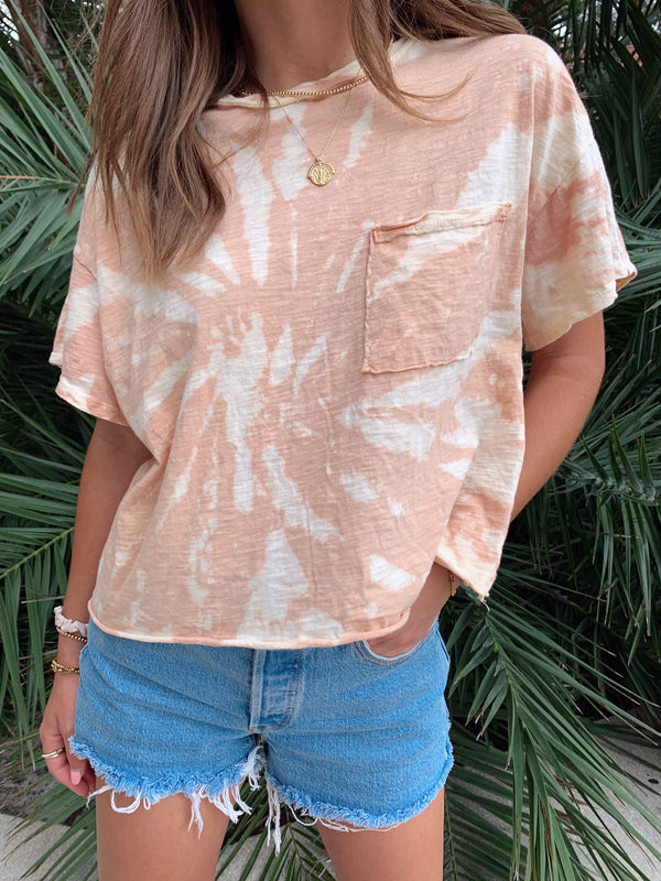 womens dusty rose tie dye tshirt