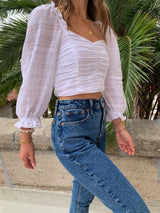 womens white 1/2 sleeve crop top