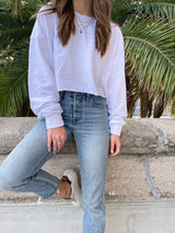womens white cropped pullover sweatshirt