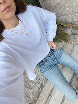 womens white activewear cropped sweatshirt