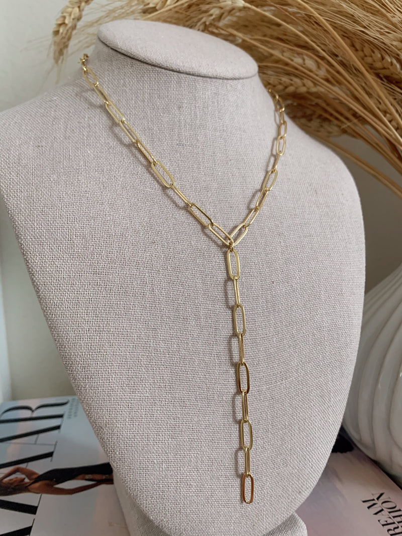 womens boho gold chain link necklace
