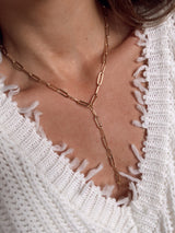 womens chic gold link drop necklace