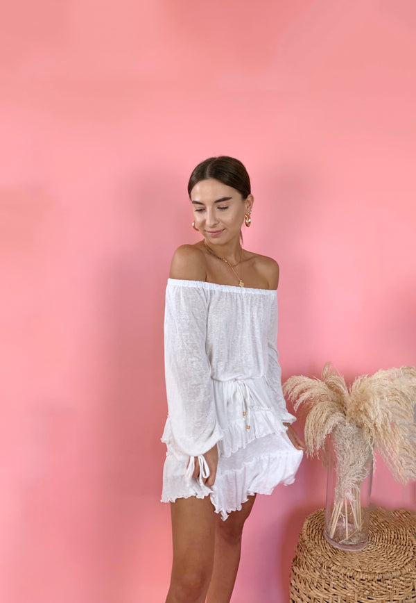 womens off the shoulder white ruffle mini dress