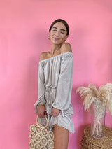 womens beige ruffle off the shoulder dress