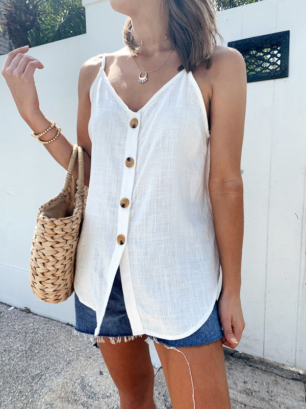 womens white boho linen tank top with front buttons