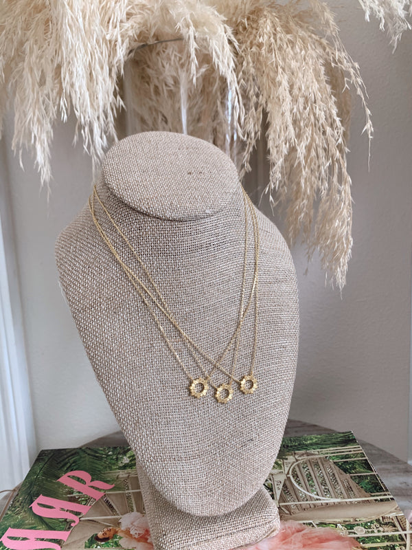 Small dainty sun necklace