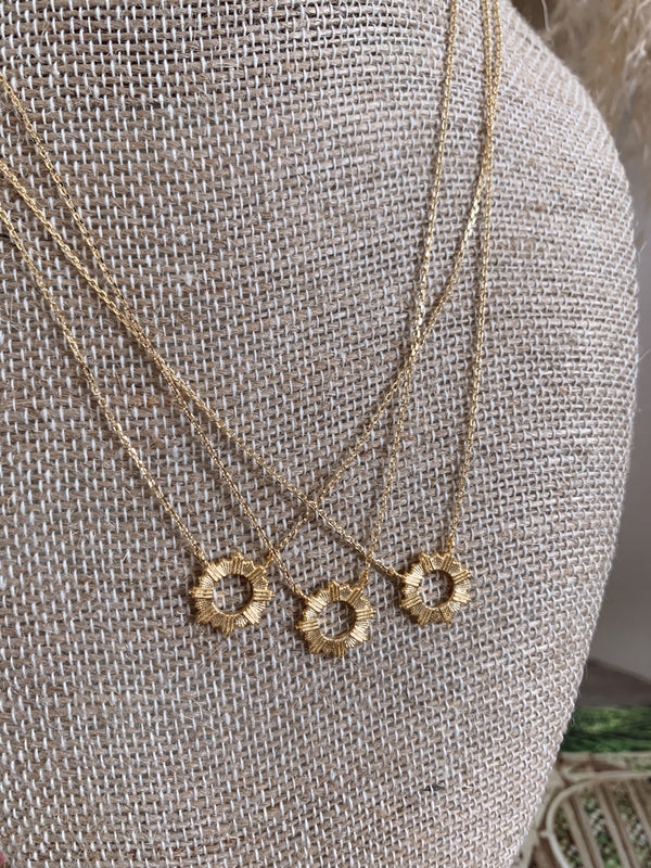 small gold sun dainty necklace