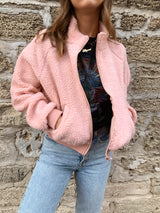 pink teddy coat, pink teddy jacket, pink bomber jacket, teddy bomber jacket, pink sherpa jacket