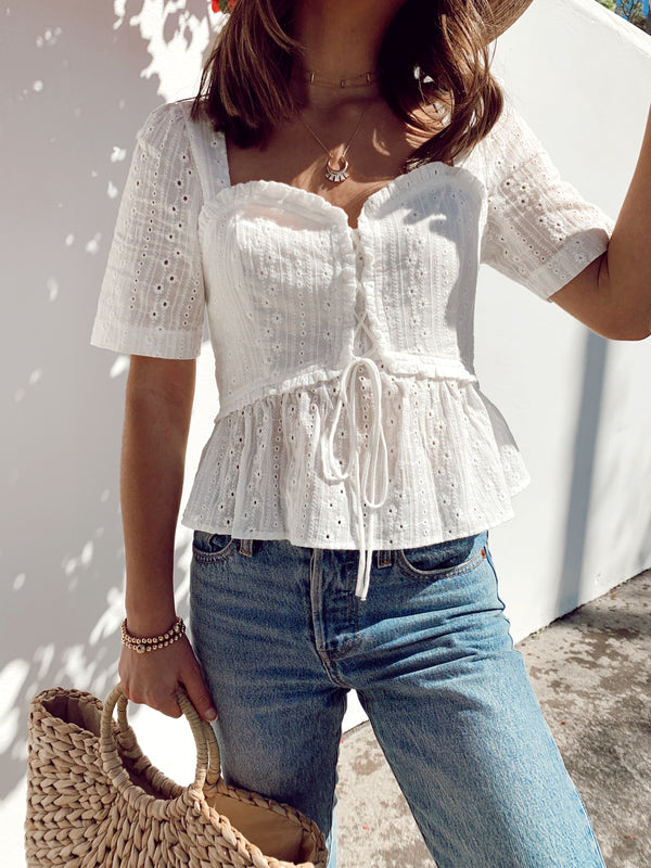 white eyelet top, womens white eyelet top, white eyelet peplum top, white peplum top, white eyelet sweetheart top