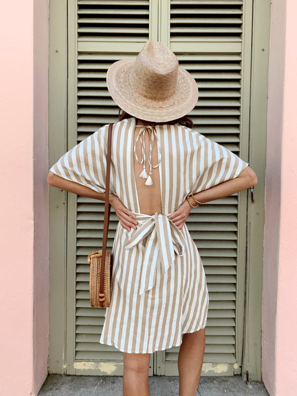 Womens boho dress, white and brown neutral striped short sleeve dress with buttons