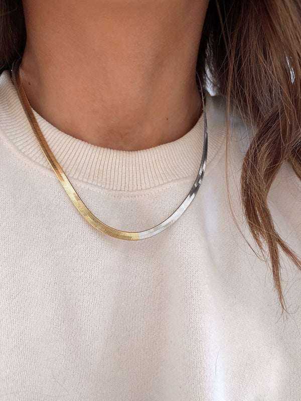 gold and silver herringbone necklace