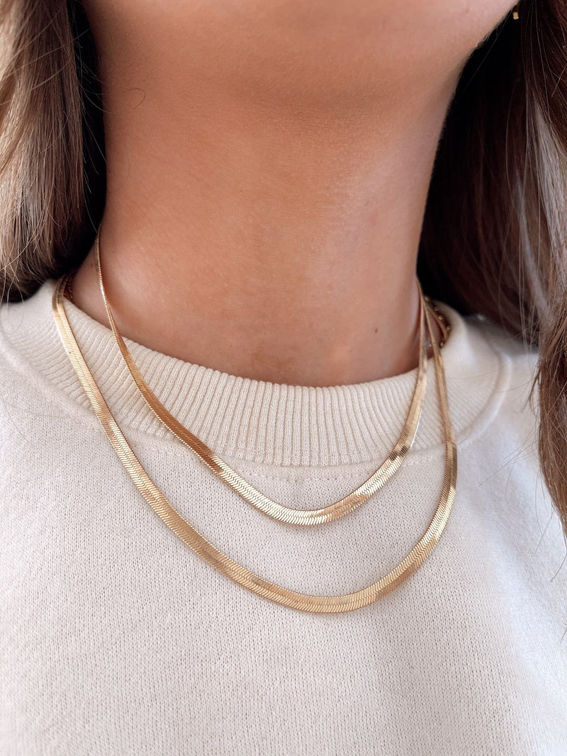 womens gold herringbone necklace